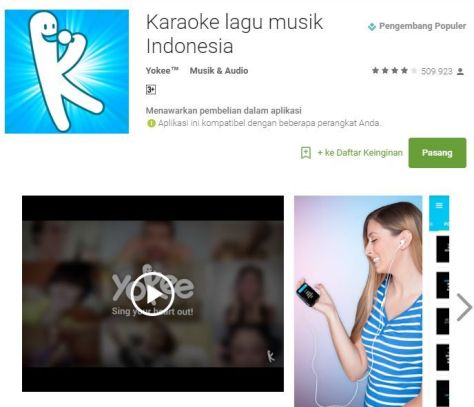 Aplikasi karaoke android, Yokee adalah aplikasi untuk karaokean di android  yang sangat baik dan memiliki pustaka lagu dari youtube.