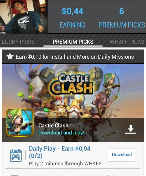 Mendapatkan Uang (Dollar) di Android, Whaff Rewards