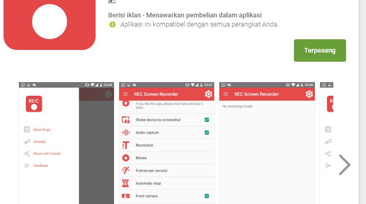 Aplikasi perekam layar handphone