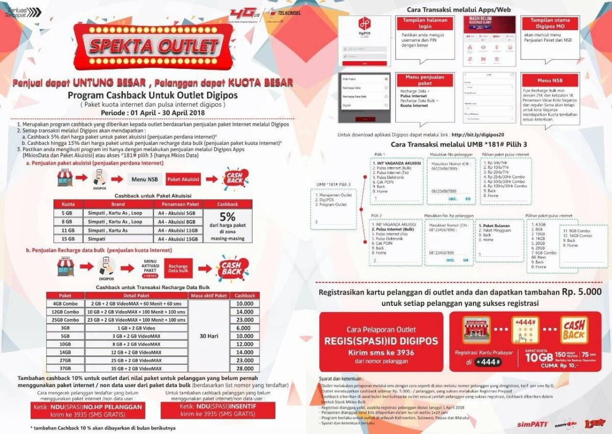 WOW!Telkomsel Memberikan Cashback Hingga 15% Atas Penjualan Pulsa Data Via digiPOS dan 181
